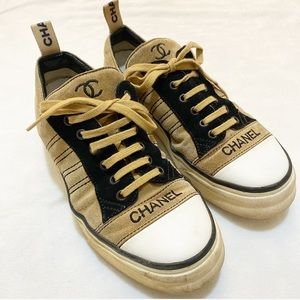 Vintage Leather Chanel Suede Sneakers
